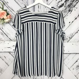 Loft blue and white striped blouse size XL